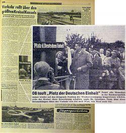 """OB Lauritzen tauft """"Platz der Deutschen Einheit"""" 1958"""